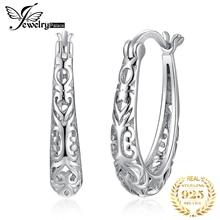 Ювелирные изделия, винтажные полые филигранные серьги-кольца, 925 пробы серебряные серьги, модные ювелирные изделия для женщин, свадебные ювелирные изделия