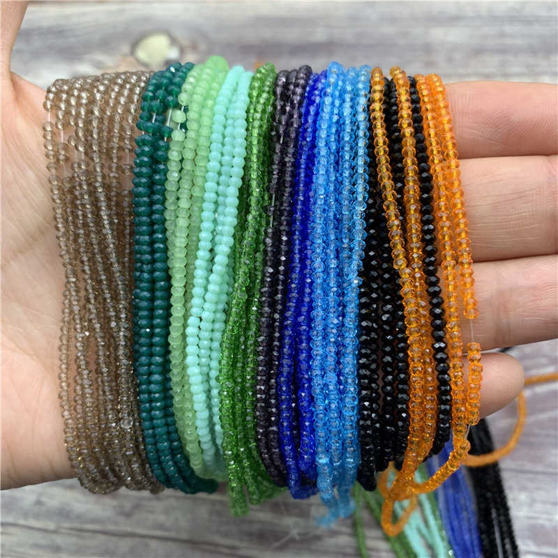 1 Strand 1mm/2mm Small Crystal Rondelle Beads Seed Beads Spacer Beads Little Beads for Jewelry Making Jewelry Diy wholesale
