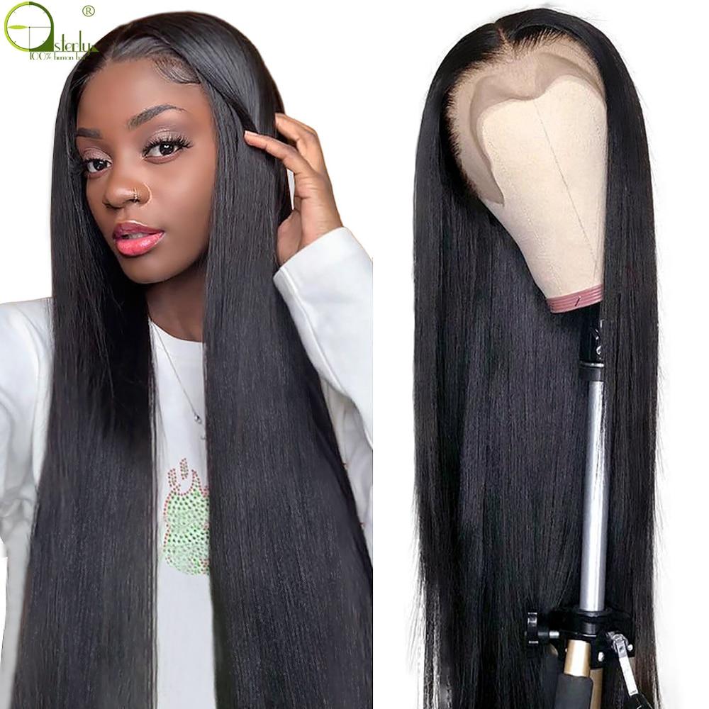 Sterly brasileiro em linha reta 30 Polegada perucas do fechamento do cabelo humano do laço perucas para as mulheres 4x 1/13x1 t parte peruca do laço pré arrancadas