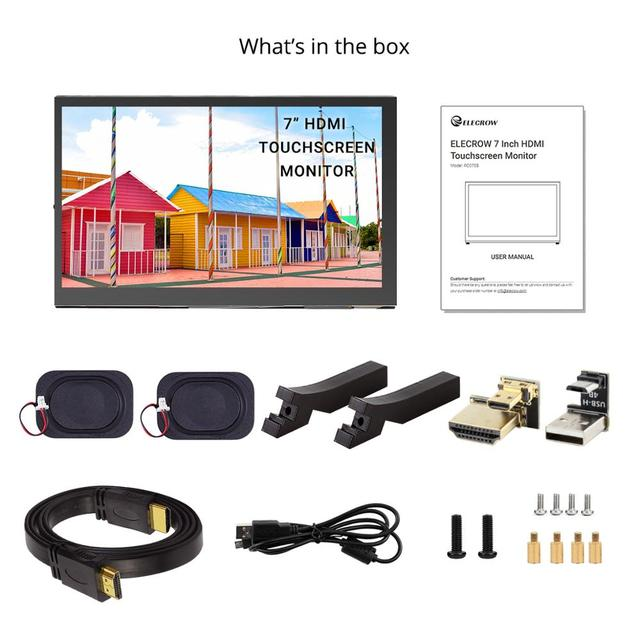 New Arrival 7 Inch HDMI Touchscreen Monitor 1024x600P  7 HDMI Display with Dual Speakers for Raspberry Pi 4B Screen with Stand