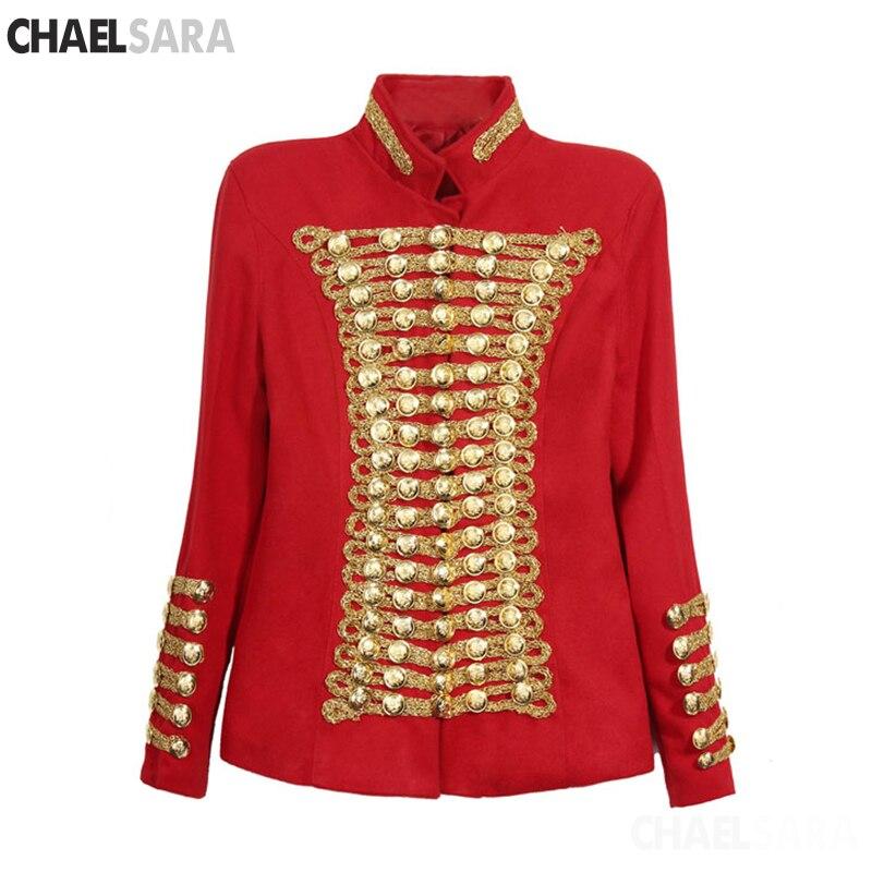 Haute qualité piste mode Rock Punk veste femme boutons d'or armée veste Vintage à manches longues Slim laine veste