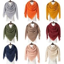 Зимний женский теплый шарф, Одноцветный зимний женский шарф, модные вязаные треугольные шарфы