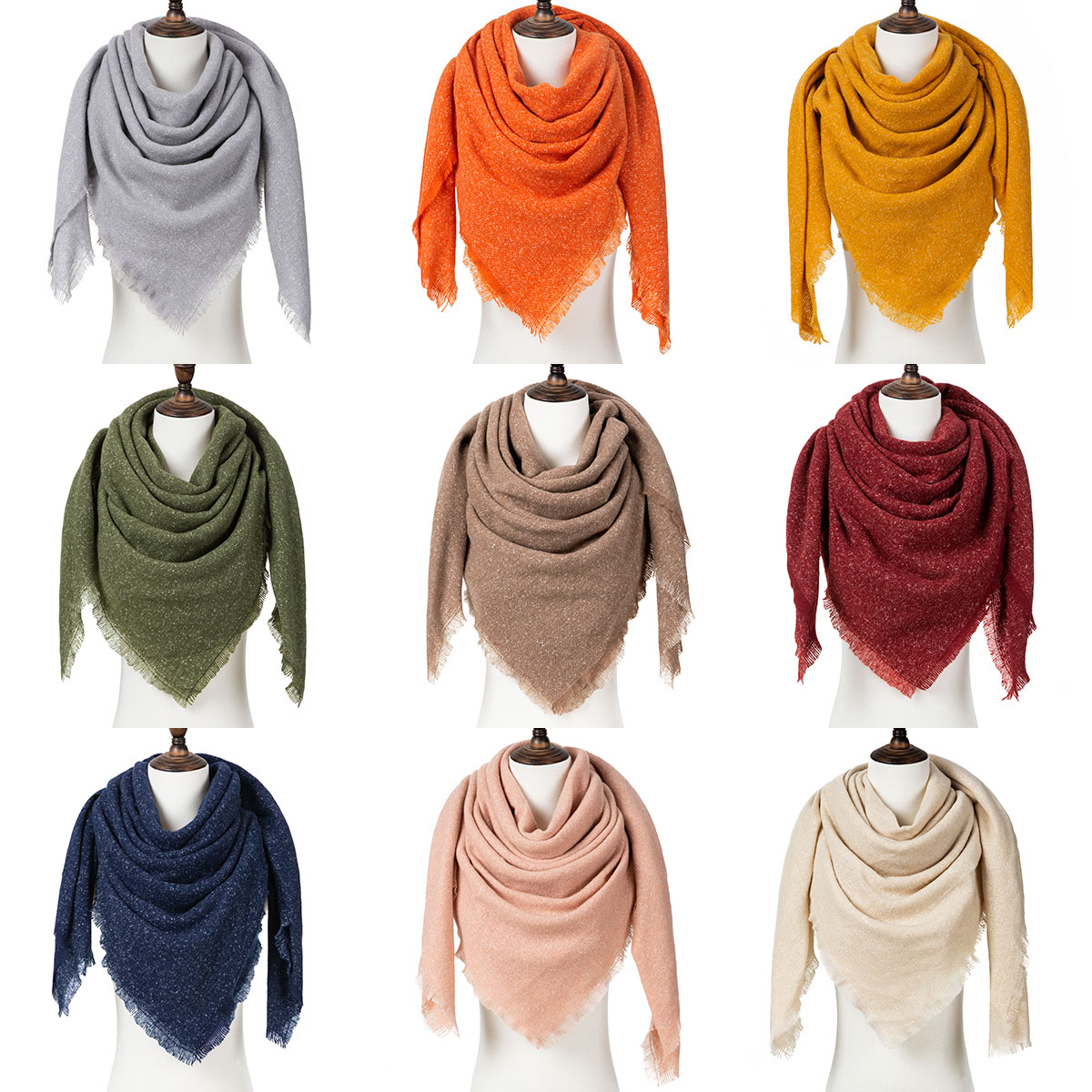 Winter Scarf Woman Warm Scarf Solid Color Winter Woman Shawl Fashion Knitted Triangle Scarves