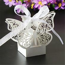 50 Pack Laser Cut Butterfly Wedding Favour Box with Organza Ribbon Birthday Party Candy Boxes