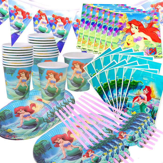 110Pcs 20 คนHappyวันเกิดMermaid Ariel Girls Baby Shower Partyตกแต่งแบนเนอร์ตารางผ้าหลอดถ้วยแผ่นผู้ผลิต