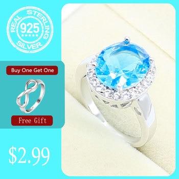 Anillo de plata 925 para las mujeres redondo cielo azul Multicolor Topacio joyería regalo gratis