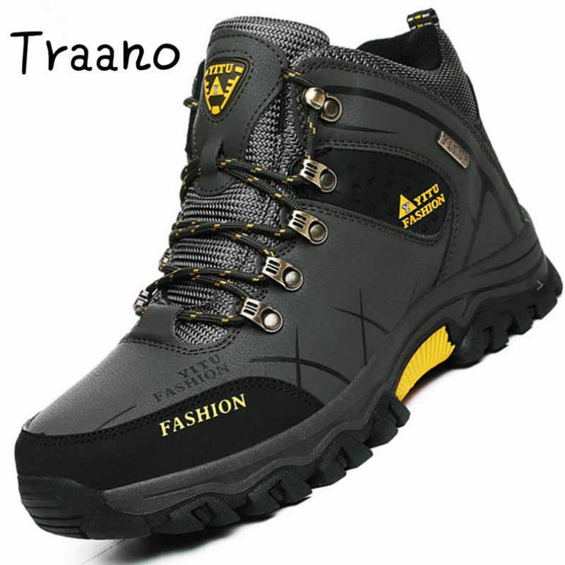 Top Quality Winter Shoes Boots Leather Casual Travel Men Shoes High Top Non-slip Men Shoes Waterproof Fur Warm Big Size Footwear