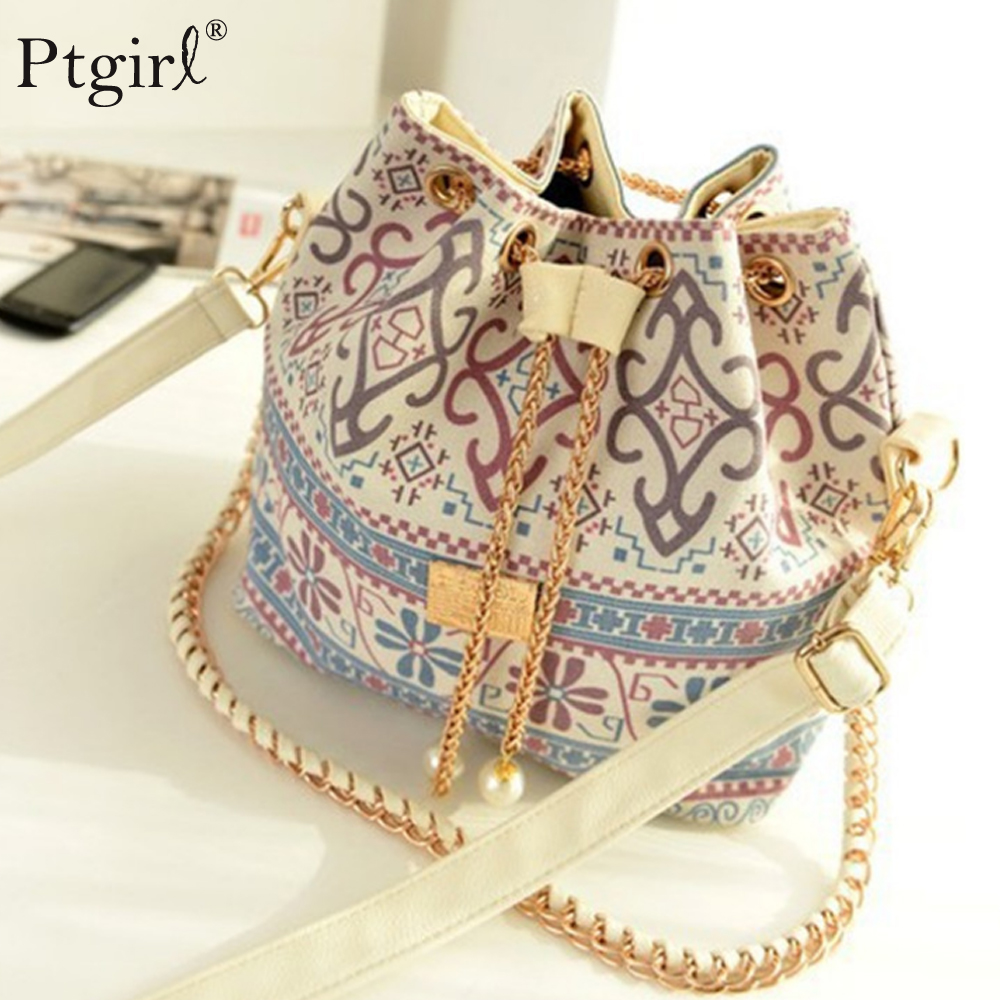 Bag For Women 2019 Bohemia Style Canvas Drawstring Bucket Bag Ptgirl Pearl Shoulder Women Messenger Bags Bolsa Feminina Bolsos