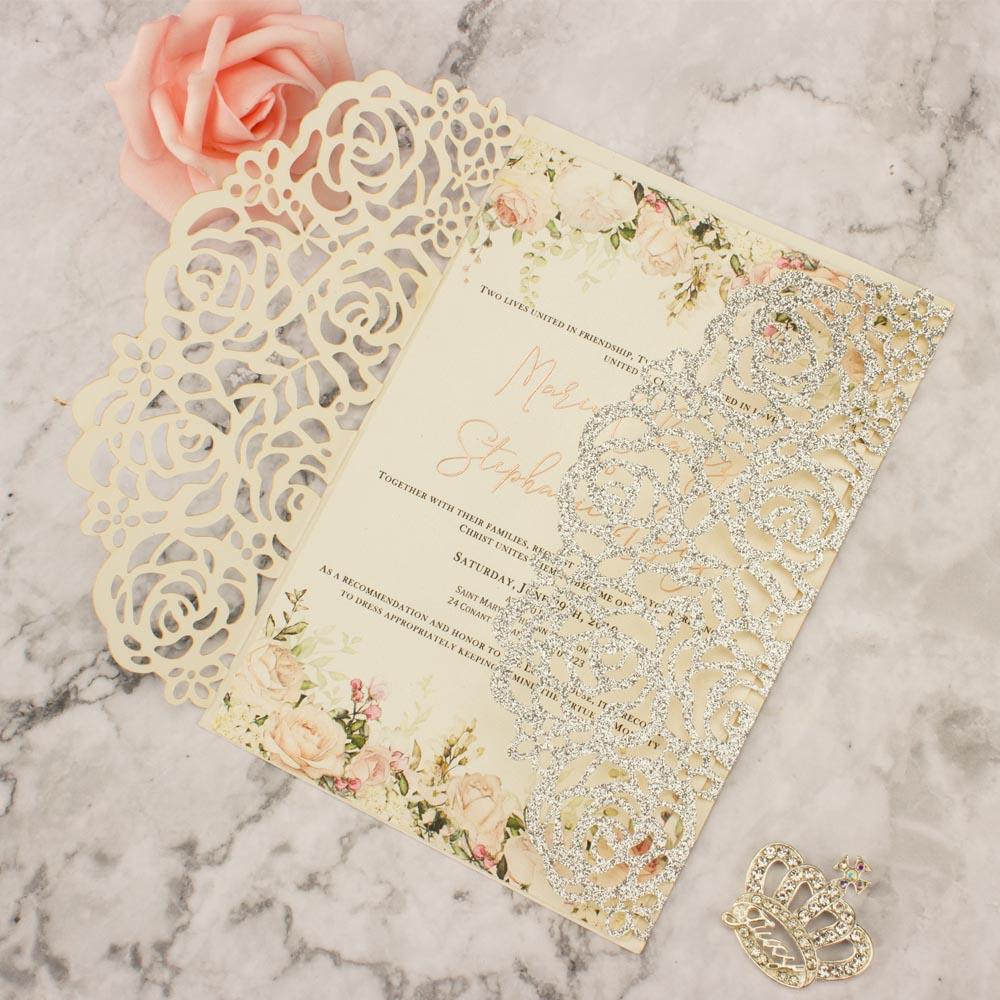 Free Shipping 1X Rose GOLD glitter Burgundy Wedding Invitation Card Laser  cut Hollow wedding invitations Invite greeting cards|Cards & Invitations| -  AliExpress