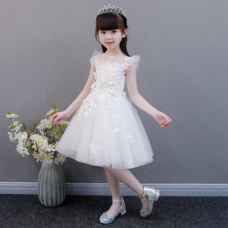 Girls Princess Dress Puffy Yarn Children Host Evening Gown White Flower Girl At Wedding Dress Piano Costume Autumn