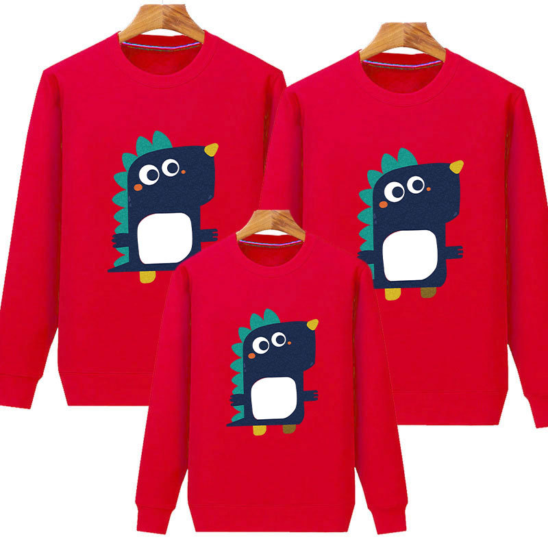 Street Couples Popular Brand Little Dinosaur Couples Parent And Child Hoodie Men And Women Loose-Fit Korean-style Sweater <font><b>BF</b></font> Sty image