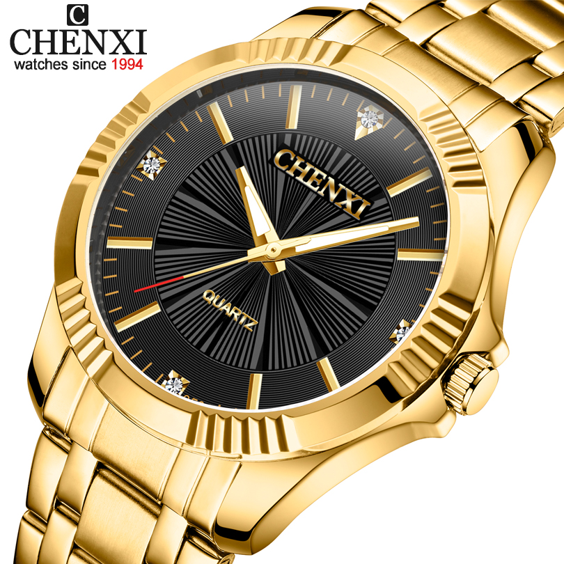 Top Quality Clock Fashion Men Luxury CHENXI Brand Gold Stainless Steel Quartz-Watch Wrist Watches Wholesale Golden Watch Men