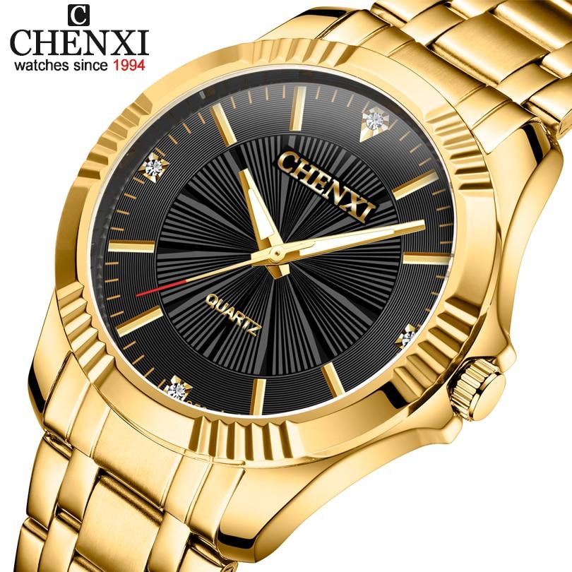 Top Quality Clock Fashion Men Luxury CHENXI Brand Gold Stainless Steel Quartz-Watch Wrist Watches Wholesale Golden Watch Men