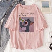 Camiseta manga curta feminina gato tom mouse, camiseta solta de manga curta de desenho animado para verão camisa com camisa