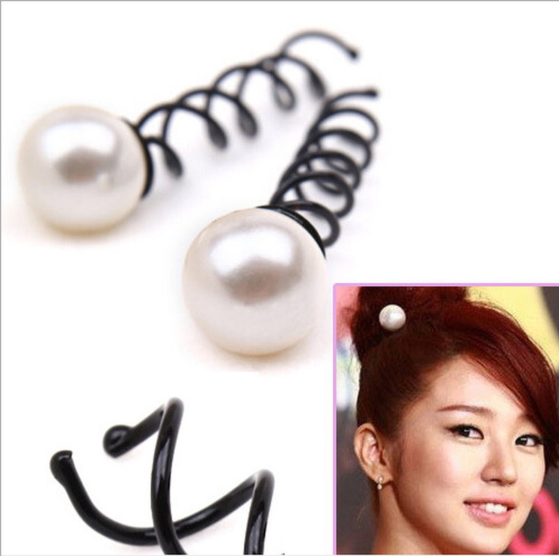 1 PC Women Girls Pearl Black Spiral Spin Screw Bobby Hair Pins Clips Twist Barrette Accessory For Hair Style Korean Headwear