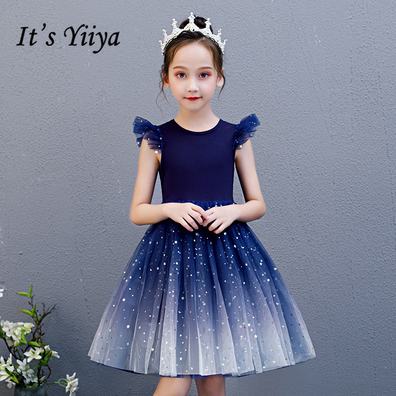Flower Girl Dresses It's Yiiya B099 Royal Blue Gradient Girls Princess Dresses 2020 Elegant O-neck Sleeveless Pageant Gowns