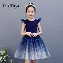 Flower Girl Dresses It's Yiiya B099 Royal Blue Gradient Girls Princess Dresses 2020 Elegant O-neck Sleeveless Pageant Gowns(China)