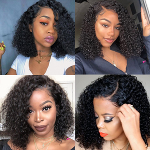 Image 3 - Ali Grace Brazilian Kinky Curly Bob Wig with Baby Hair 13x6 Pre Plucked Curly Bob Lace Front Wigs For Women Remy Curly Bob Wigs