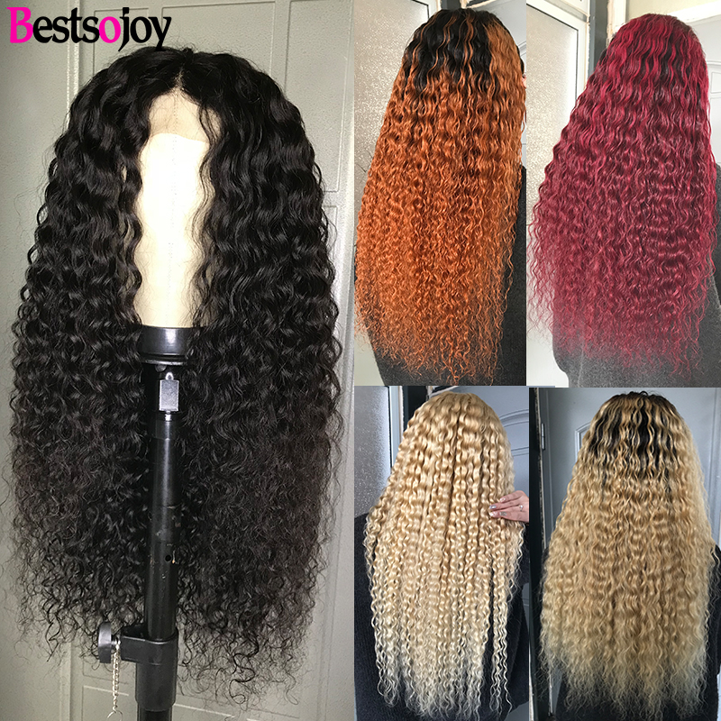 Bestsojoy Curly Human Hair Lace Front Wigs For Women Natural Color 613 Blonde Ombre Brazilian Curly Remy Wigs Middle Ratio image