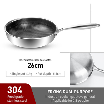 316/304 Stainless Steel Frying Pan High Quality Pan Fried Steak Non Stick Pan General Purpose Induction Cooker Honeycomb Wok Cookware Home & Garden Home Garden & Appliance Kitchen Tools & Gadgets Kitchen, Dining & Bar Non Stick Cookware Non Stick Cookware Non Stick Frying Pan Color: 26cm pan 304