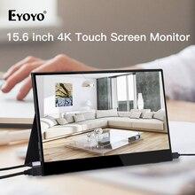 """Eyoyo EM15C المحمولة رصد HDMI شاشة تعمل باللمس 15.6 """"4K الكمبيوتر PS4 Xbox 3840X2160 IPS شاشة LCD LED لأجهزة الكمبيوتر المحمول التوت بي التبديل"""
