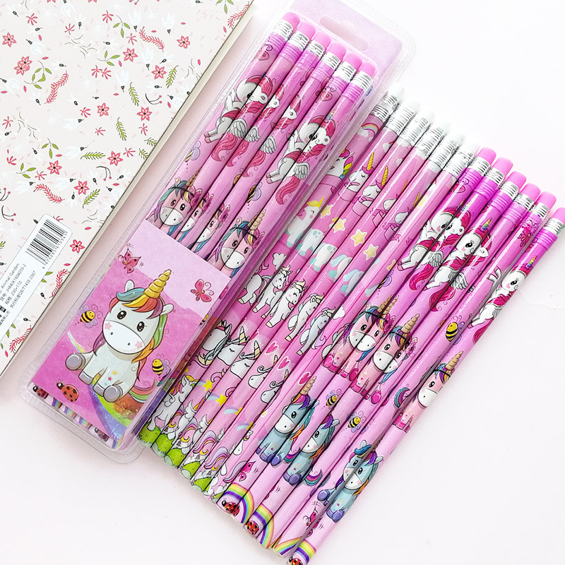 12Pcs/Set Cute Kawaii Cartoon Unicorn Pencil With Eraser 2B Sketch Items Drawing Stationery Student School Supply For Kids Gift