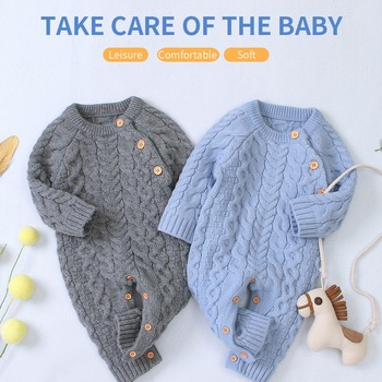Knitted Baby Clothes Long Sleeve Newborn Baby Romper Winter Spring Baby Girl Romper Infant Jumpsuit Boy Romper Toddler Sweater christmas baby clothes autumn winter knitted baby deer romper newborn romper infant jumpsuit toddler girl romper