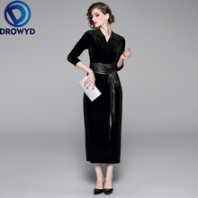 Elegant Velvet Midi Dress for Women Autumn and Winter Casual Boho Long Sleeves Fuchsia Vintage Club Party Dresses Vestidos