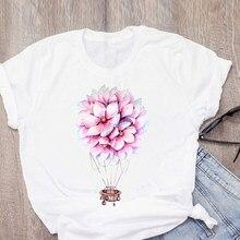 Flower balloon T-shirts women Harajuku Design Crew Neck Woman Tshirt Lady T-shirts Top Ladies Womens Graphic Female Tee T-Shirt