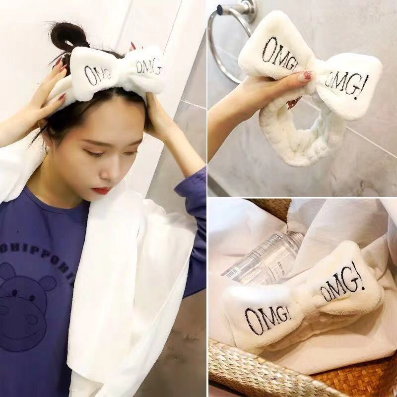 2019 New OMG Letter Coral Fleece Wash Face Bow Headbands For Women Girls Headbands Headwear Hair Bands Turban Hair Accessories