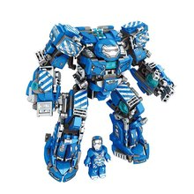 цена на Avengers 4 Heroes Steel Mecha Iron Man Set Building Blocks Bricks Boy Toys B757