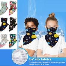 # R30 crianças ao ar livre bandana impressão sem costura orelha gancho rosto capa reutilizável lavável esportes cachecol pescoço tubo equitação cachecóis