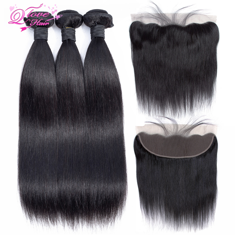 Queen Love Hair Peruvian Hair Bundles With Closure Nature Color 3 Bundles With 13x4 Lace Frontal Closure Remy Hair Extension