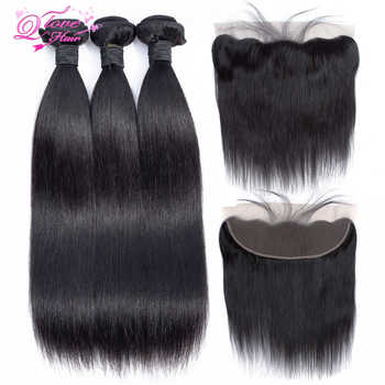 Queen Love Hair Peruvian Hair Bundles With Closure Nature Color 3 Bundles With 13x4 Lace Frontal Closure Remy Hair Extension - Category 🛒 All Category