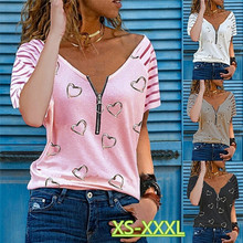 Kuelawear V-neck Love Printing Zipper T-shirt Women's Solid Color Loose Summer Tops Fashion Ladies Casual Cotton Short Sleeve