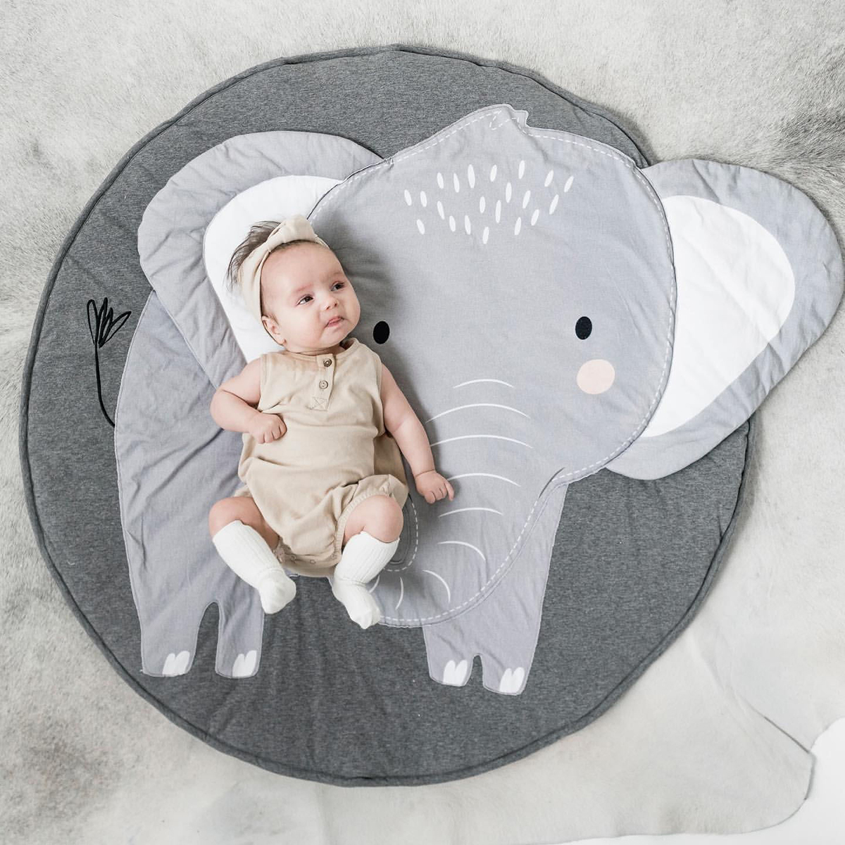 Puseky Cartoon Baby Play Mats Pad Toddler Kids Crawling Blanket Round Carpet Rug Toys Mat For Children Room Decor Photo Props