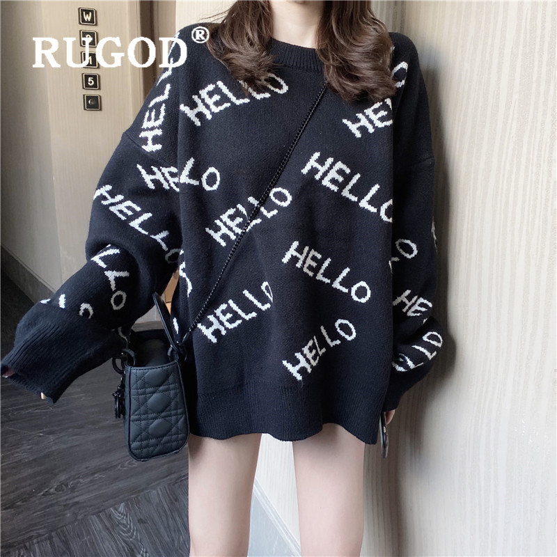 RUGOD HELLO Letter Pattern Sweater Pullovers For Women O Neck Loose Oversized Sweater Korean Fashion Casual Warm Pull Fashion