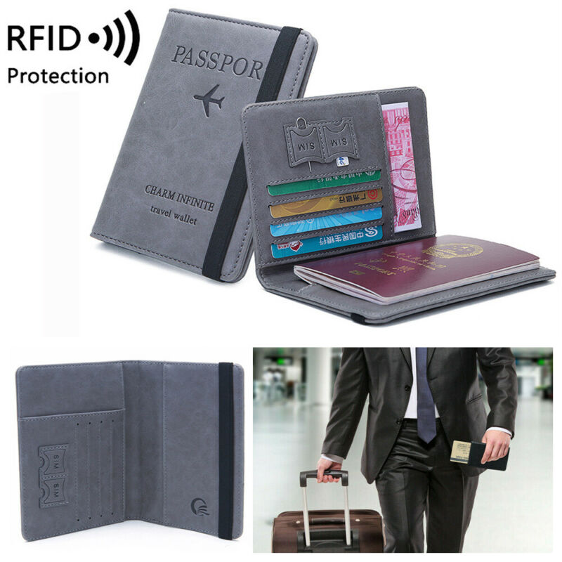 Travel Passport Holder Wallet Holder RFID Blocking Leather Card Case Cover US