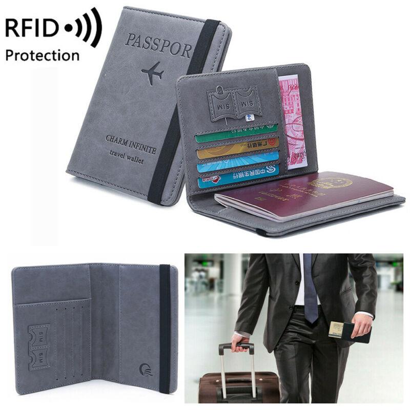 Travel Passport Holder Wallet Holder RFID Blocking Leather Card Case Cover US