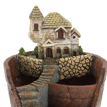 New Mini House Figurines Resin Flower Pot For Herb Cacti Succulent Plants Planter Home Garden  Micro-  Landscape Decor Crafts