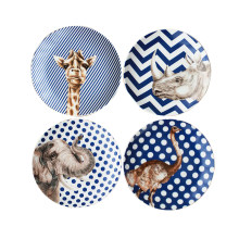 High Quality 7 Inches Animal Series Ceramic Dessert Plates Set Home Dinnerware