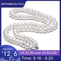 Weiß Natürliche Süßwasser Perlenkette Für Frauen 8-9mm Halskette Perlen Schmuck 40 cm/45 cm/50 cm Länge Halskette Modeschmuck