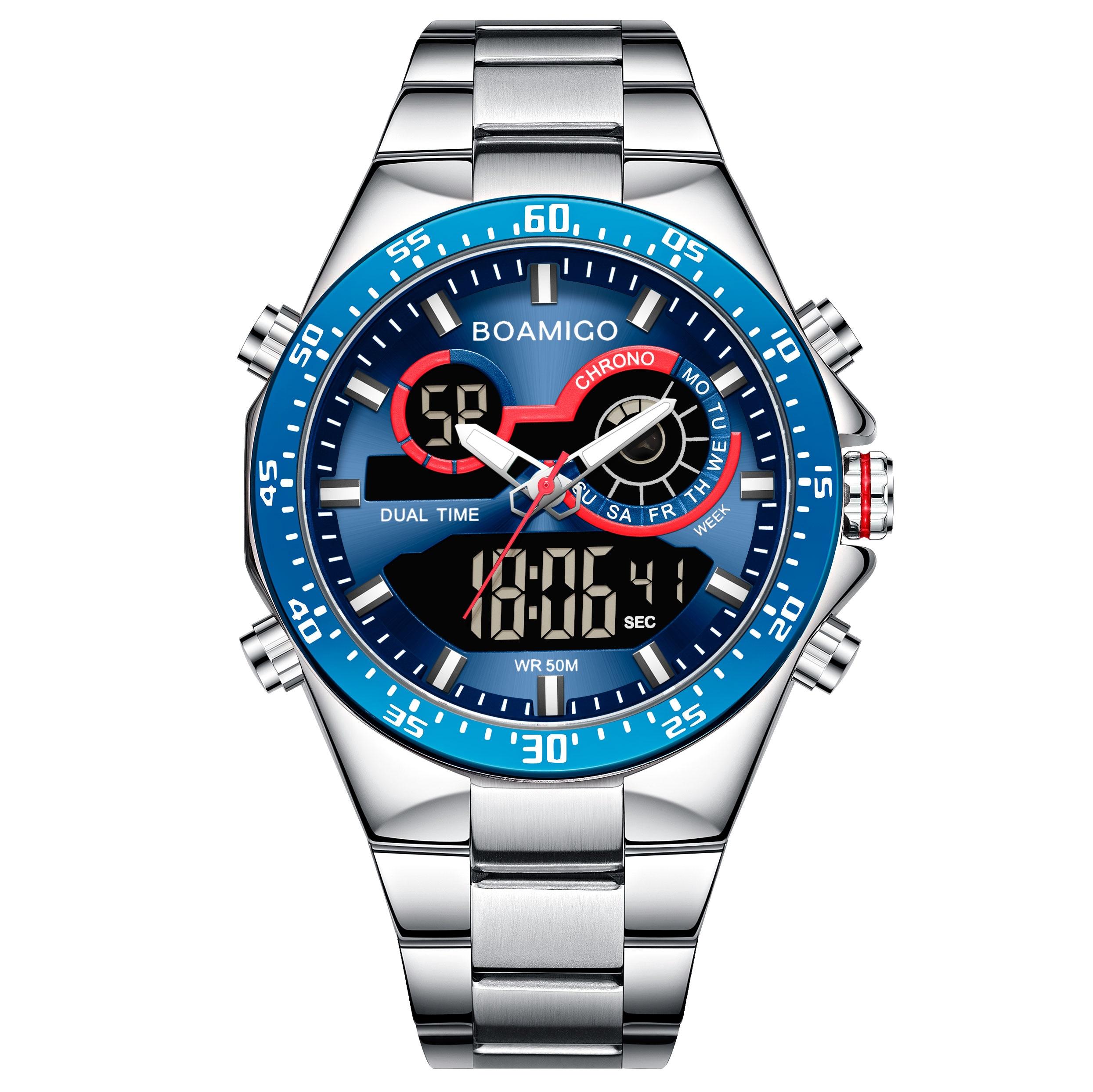 Hot DealsBOAMIGO Mens Watches Chronograph Digital Stainless-Steel Analog Sports Top-Brand New-Fashion