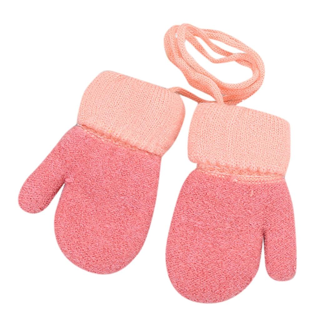 Дети Мальчики Девочки Зима милый твердый, подвесной шею теплые вязаные перчатки дети милые перчатки теплые полный палец перчатки зима - Цвет: Красный
