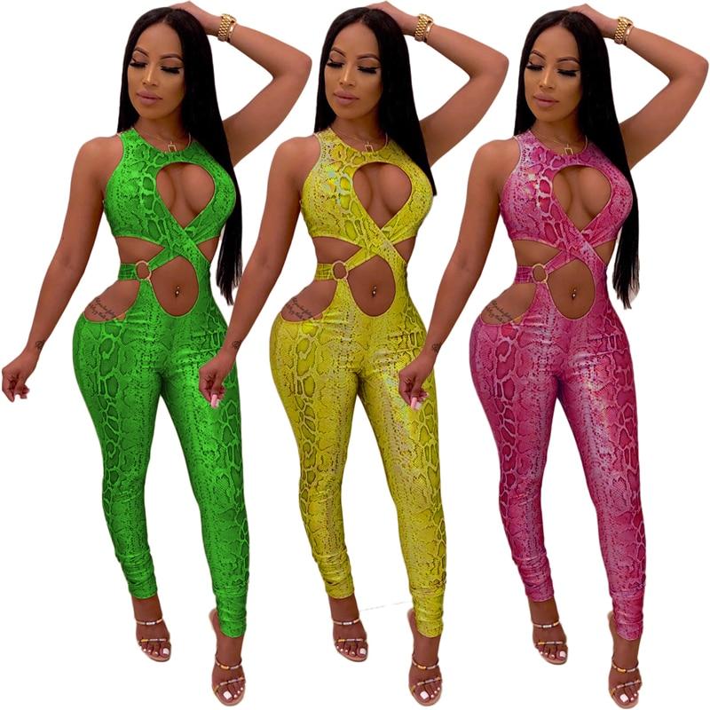 Adogirl Snakeskin Print Jumpsuit