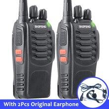2pcs baofeng bf 888s 휴대용 워키 토키 16ch bf 888s 양방향 라디오 uhf 400 470 mhz 이어폰과 2pcs 사냥 송수신기