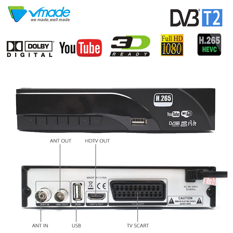 Vmade Original Set-Top Box DVB-T2/T HD 1080P Digital Terrestrial TV Receiver Support Built H.265/HEVC Dolby AC3 Youtube TV Tuner