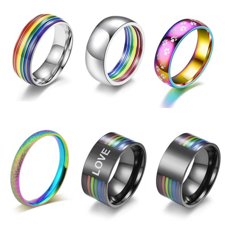 2021 Новая мода из нержавеющей стали с эмалью с изображением ЛГБТ-радуги кольцо гордости гей свадебное обручальное кольцо для мужчин и женщин...