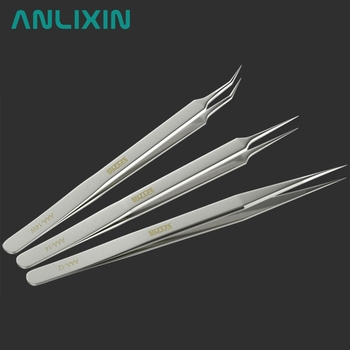 3PCS AAA Stainless Steel Pointed Sharp Tweezers Frosted Clamps Medical For Electronic Repair Tool Lengthened Straight Industrial
