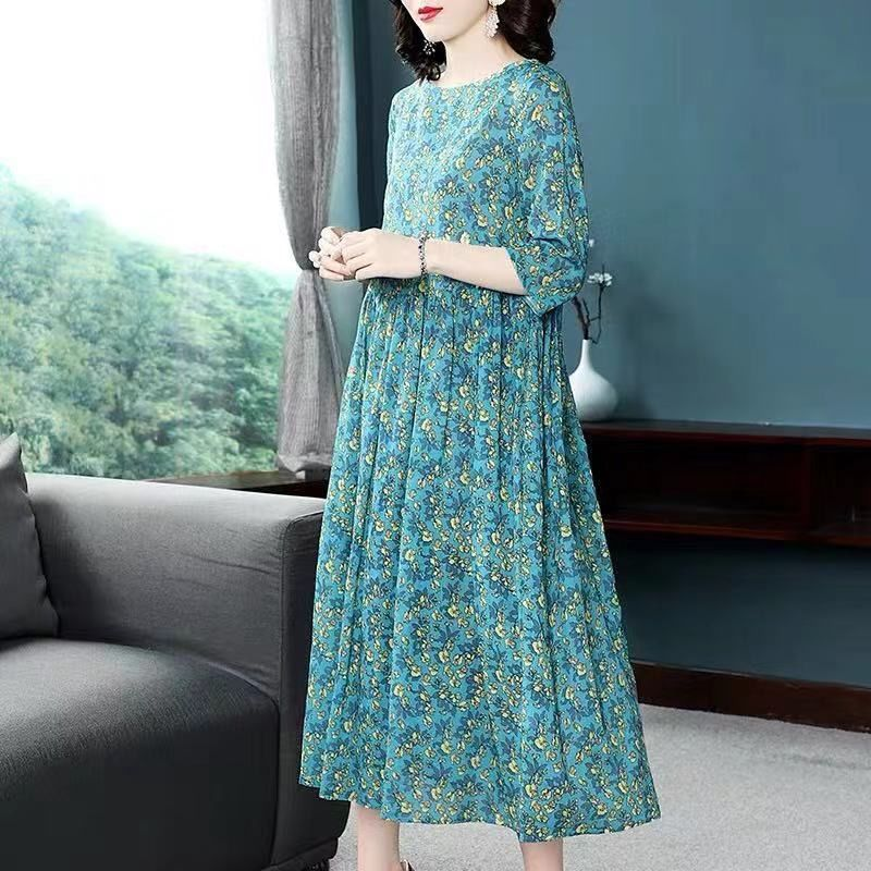2020 Summer New Print A-line Dress Woman Retro Short Sleeve Dresses Women Splice Print Dress Plus Size Loose Dress Lady Clothing